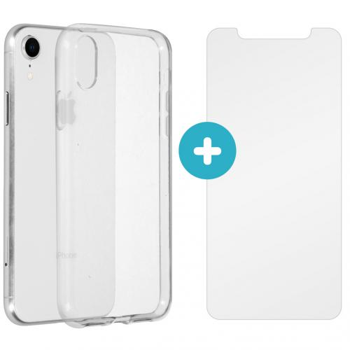 Softcase Backcover + Glass Screenprotector voor de iPhone Xr - Transparant