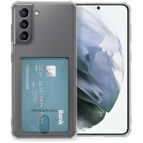 Softcase Backcover met pashouder voor de Samsung Galaxy S21 - Transparant