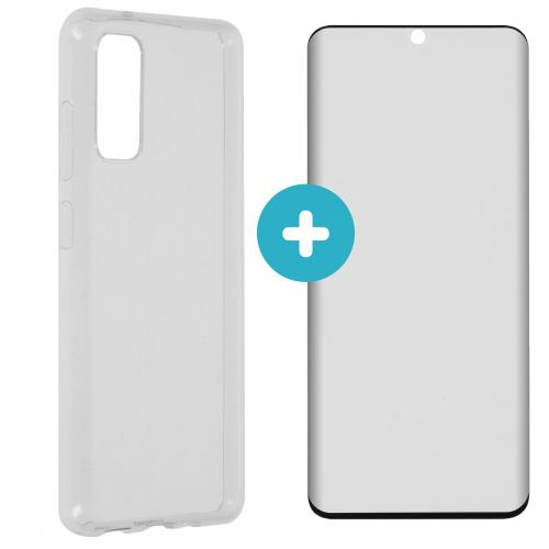 Softcase Backcover + Premium Screenprotector voor Samsung Galaxy S20 - Transparant