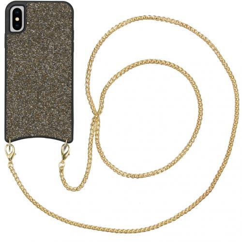 Sparkle Backcover met ketting voor de iPhone Xs / X - Goud